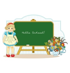 girl near school blackboard vector image