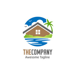 green house and lake logo vector image