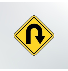 Hairpin curve warning icon vector image vector image