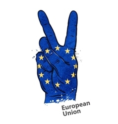 hand gesture of victory flag European Union vector image vector image