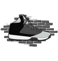 high sneakers black-gray lacing on the background vector image