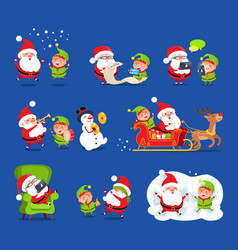 santa and elf collection vector image