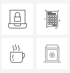 4 interface line icon set modern symbols on vector