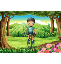 A boy biking at the jungle vector image