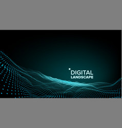 abstract landscape particle wireframe big vector image