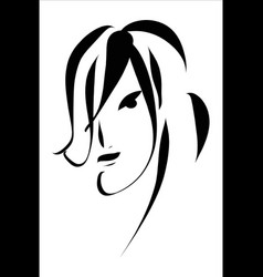 art sketching beautiful melancholy girl vector image