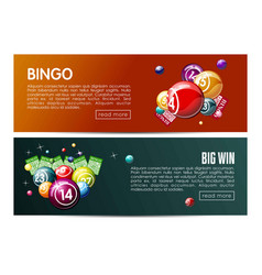 Bingo lotto lottery web banners templates set vector