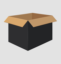 black cardboard open box side view package design vector image