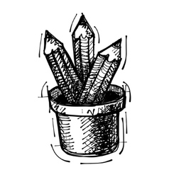 Black sketch drawing of pencils vector