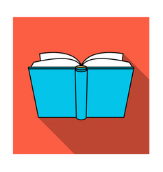 blue opened book icon in flat style isolated on vector image