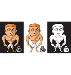 Bodybuilder with kettlebell on black and white vector