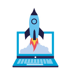Business laptop rocket vector