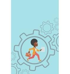Business woman running inside the gear vector