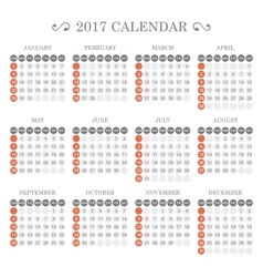Calendar Template for 2017 on White Background vector