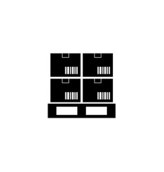 Cargo boxes pallet flat icon vector