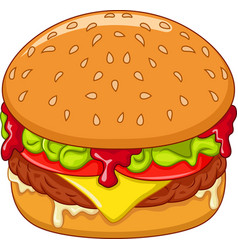 cartoon burger isolated on white background vector image