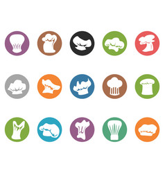 chef hat round button icons vector image