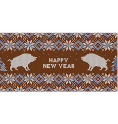 Christmas knitted pattern with wild boars vector