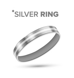 classic silver ring with white gold detail vector image