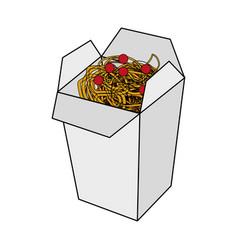 color image cartoon box with noodles food vector image