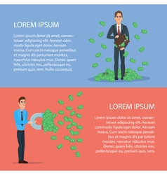 Confident Businessman Attracts Money with a Large vector image