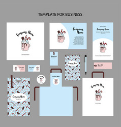 Corporate branding hot chocolate with marshmallow vector