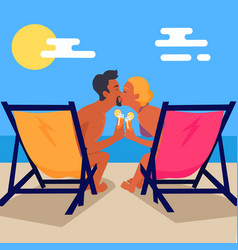 Couple sits on recliners with cocktails and kisses vector