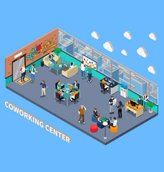Coworking center isometric interior vector