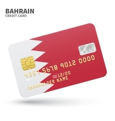 Credit card with Bahrain flag background for bank vector