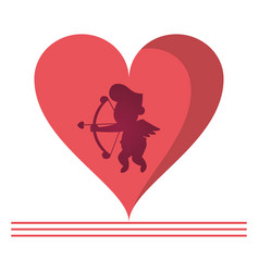 Cupid silhouette on heart vector