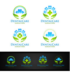 dental logo with tooth abstract design template vector image