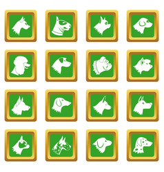 Dog icons set green vector