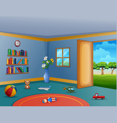 Empty living room with messy children toys vector