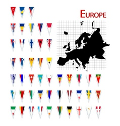 Europe flags and map vector