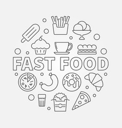 Fast food round symbol outline vector