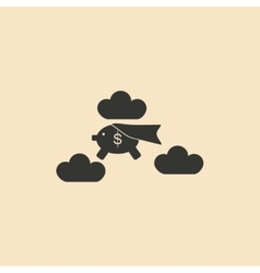 Flat black and white piggy bank in the clouds vector image