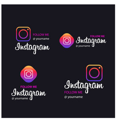 Follow me on instagram banners vector