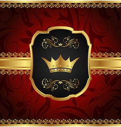 Golden vintage frame with crown vector