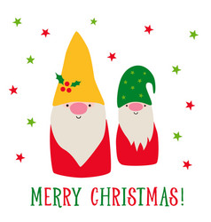 greeting card with cute cartoon christmas gnomes vector image