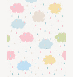 hand drawn cute clouds pattern vector image