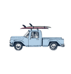 hand drawn pickup car with surfboards on a roof vector image