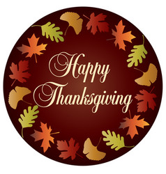 Happy thanksgiving circle with gradient leaf frame vector