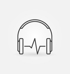headphones with sound wave outline icon or vector image