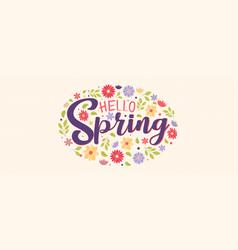 hello spring cute flower banner for nature season vector image