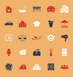 Hospitality business classic color icons with vector