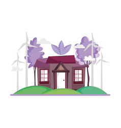 House facade trees nature wind turbine ecology vector