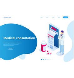Isometric online medical consultation health care vector