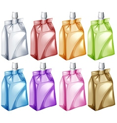 Juice bags in different colors vector