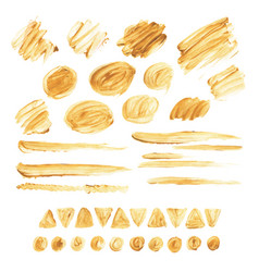 large collection of brush strokes gold acrylic vector image
