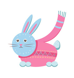 little gray hare in sweater vector image